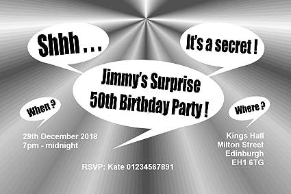 70 personalizable invitaciones de fiesta sorpresa - tamaño ...