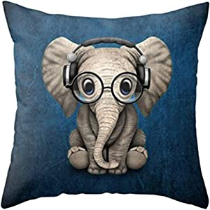Aremetop Lovely Animals Elephant Baby Wearing Glasses with Headphones Cotton Linen Home Decor Pillowcase Throw Pillow Cushion Cover 18 x 18 Inches (Elephant Baby Wearing Glasses & Headphones/Blue)
