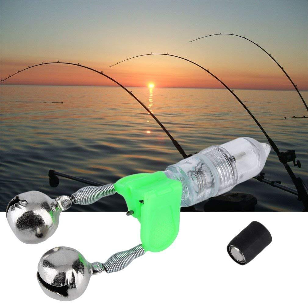 1pc LED Light Night Twin Bells Tip Clip On Fishing Rod Bite Alarm Alert~