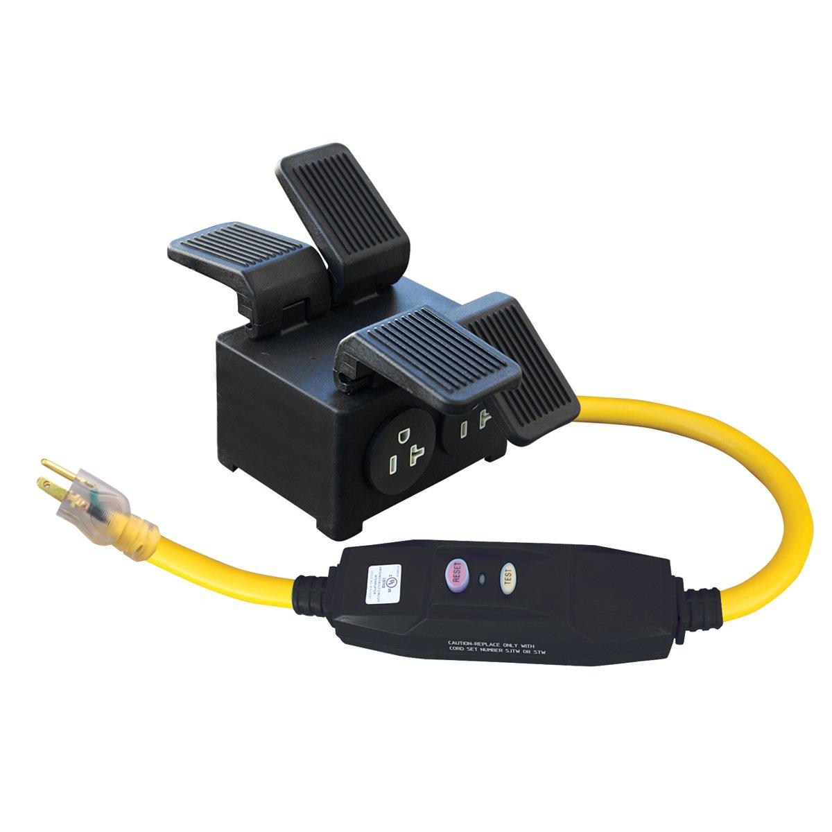 Voltec 04-00107 Receptacle 5-20R (x4) 20 Amp in-Line GFCI Quad Box Adapter, 3'