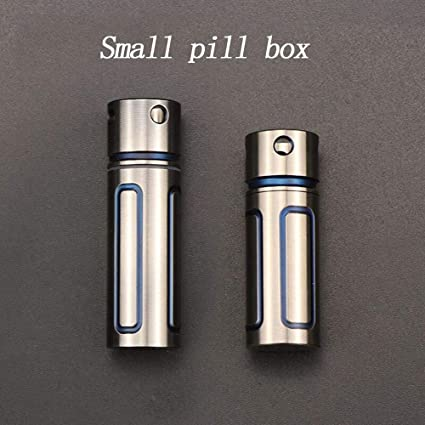 Titanium Waterproof Pill Cases Container Keychain Portable Mini Pill Fob with Single Chamber for Men and Women Outdoor Camping Travelsmall