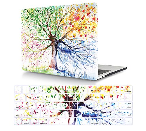 HRH 2 in 1 Watercolor Art Four Seasons Tree Laptop Body Shell Protective Hard Case Cover Match Silicone Keyboard Cover for MacBook Pro 13.3