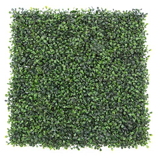 Artificial Topiary Hedge Plant Privacy Fence Screen Greenery Panels for Both Outdoor or Indoor, garden or backyard home decorations (20x20 inch artifical Hedge-Boxwood, 1 PC Sample)
