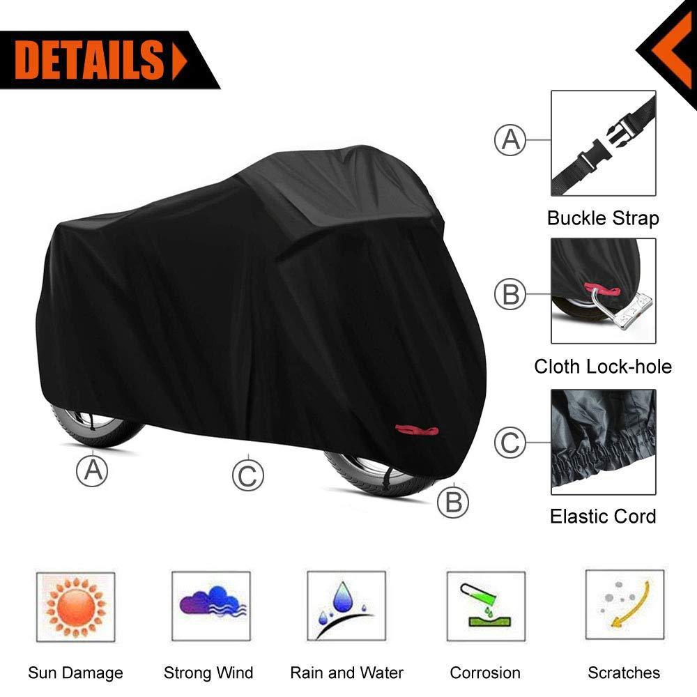 KOKOMALL Motorcycle Cover Waterproof Lightweight Lockable UV Protection Size 2XL