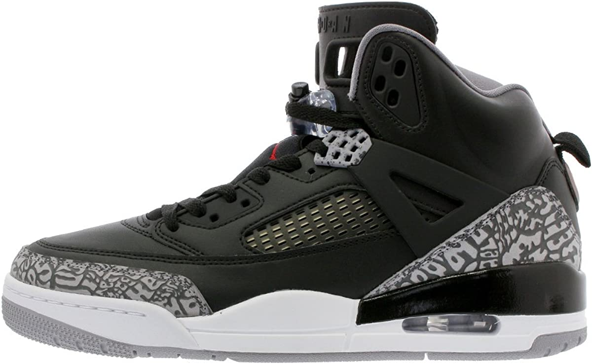 Jordan Nike Kids Spizike BG Black//Varsity Red Cement Grey Basketball Shoe 4 Kids US