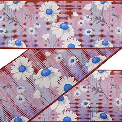 IBA Indianbeautifulart Blue Leaves & Echinacea Purpurea Floral Fabric Laces for Crafts Printed Velvet Trim Fabric Sewing Border Ribbon Trims 9 Yards 3 Inches