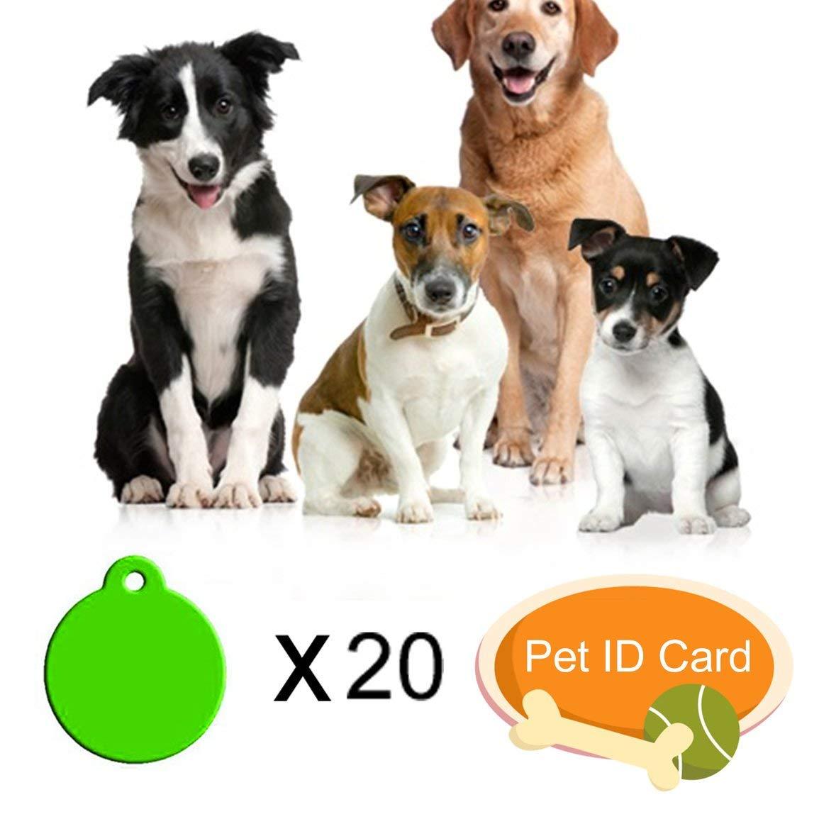 fantasyworld 20 pcs vierge pet id tags diy dog tags forme ronde