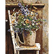 """CaptainCrafts New Paint by Numbers 16x20"""" for Adults, Kids Linen Canvas - Wild Flowers Pots Chair (Frameless)"""