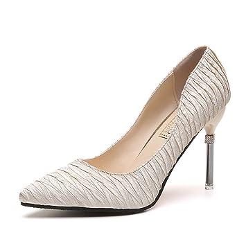 Women Es High Heels Satin Sexy Mode Flachen Mund Spitze Stiletto ...