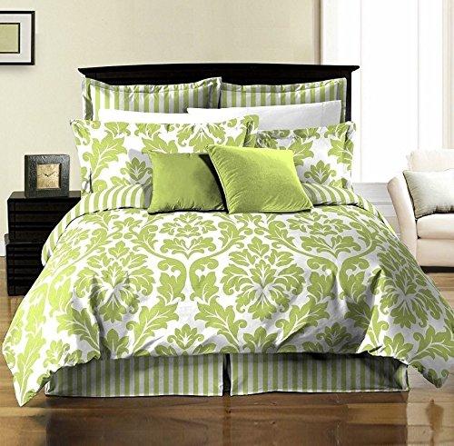 (8pcs White Green Printed Damask Stripe Reversible Duvet Cover & Sheet Set/KING)