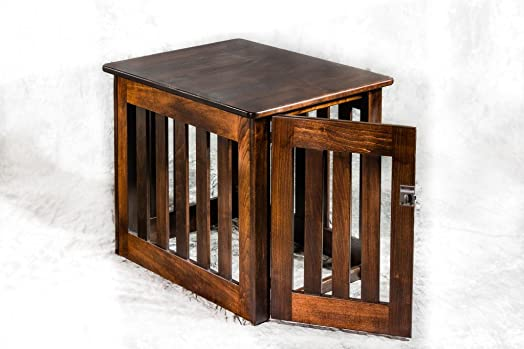 Amish Made Wood Decorative Dog Crate Heavy Duty Chew- Resistant Wooden Kennel End Table Medium 29 x 23 x 24 inches – Maple
