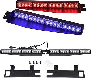 """LED Strobe Light Bar 34"""" 32 LED Emergency Beacon Warning/Windshield Visor Split Deck Red Blue White Lamp/Dash 26 Flashing Patterns 12V (Red/Blue)"""