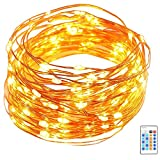 LED Copper Wire Light, GDEALER 50ft 150LED Starry String Lights Dimmable Rope Lights Remote Control Copper Wire String Lights for Christmas Party Home Indoor Outdoor Decorating (1 Pack)