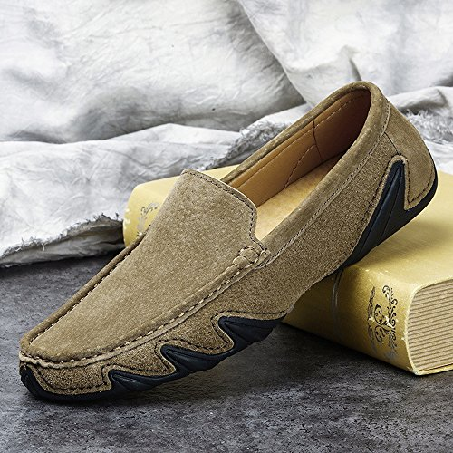 Genuine Driving Leather Rubber Cricket Sole Khaki Shoes Boat Men's Soft Moccasins Loafers OBwEOpx