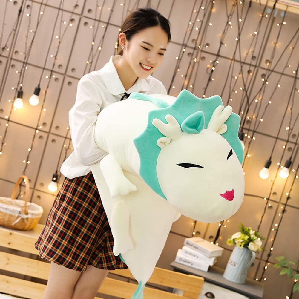 Dragon Stuffed Animal Long Pillow Body Pillow Toy Green Jensquaify Dragon Plush Hugging Pillow 35.4