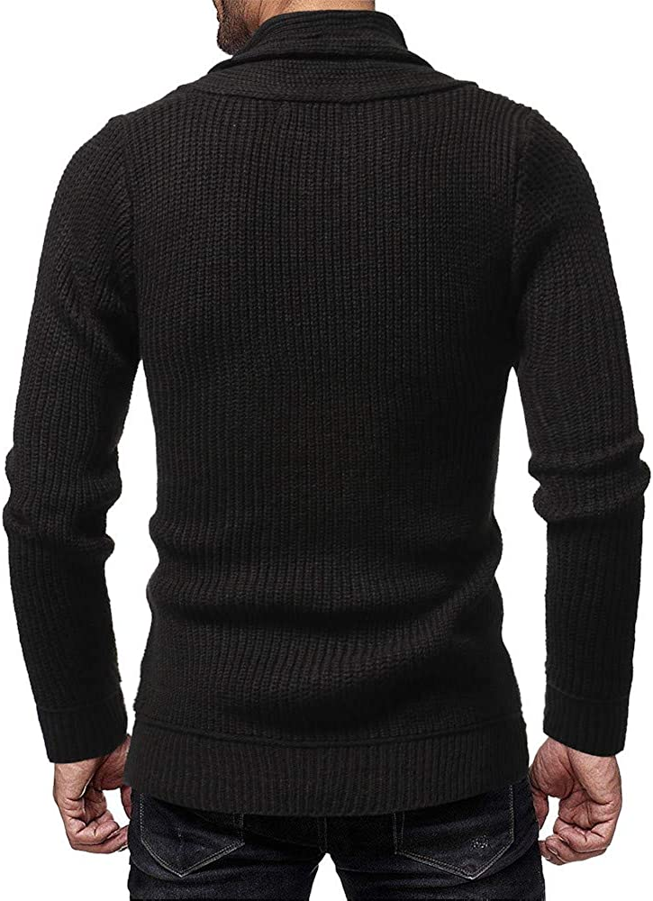 Heless Mens Turtle Neck Slim Fit Knitted Solid Color Warm Winter Pullover Sweater