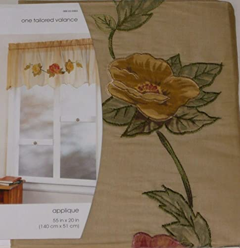Home Sheer Gold Tailored Window Valance Floral Applique Curtain Topper