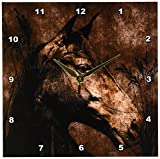 3dRose dpp_127615_1 Horse in The Grass Done in Western Brown Grunge and Charcoal Wall Clock, 10 by 10-Inch