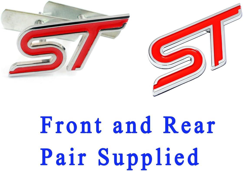 Badge per griglia ST rosso con raccordi e emblema compatibile con Focus Fiesta