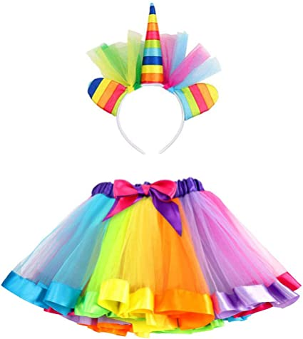 ARCOBALENO Unicorn Gonna Tutu Costume Halloween Cerchietto T-shirt Party