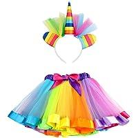 vamei Rainbow Ribbon Tutu Skirt para niñas pequeñas Fotos de Disfraces de Ballet con Unicorn Flower Diadema para Little…