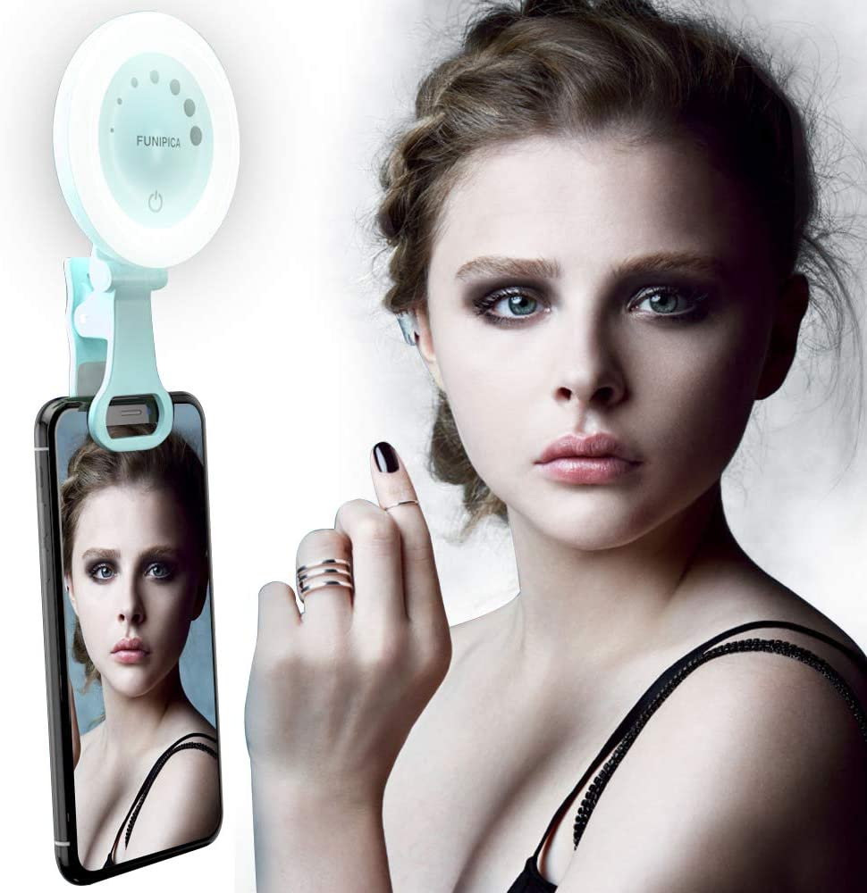 3 Modes Dimmable Clip Ring Lights for Camera Smartphones Tablets Laptop Yarrashop Selfie Licht Rechargeable LED Selfie Ring Light Gr/ün