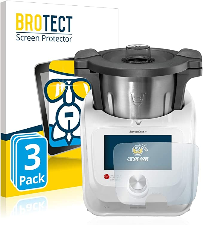 BROTECT Protector Pantalla Cristal Compatible con SilverCrest Monsieur Cuisine Connect Protector Pantalla Vidrio (3 Unidades) Dureza 9H AirGlass: Amazon.es: Electrónica