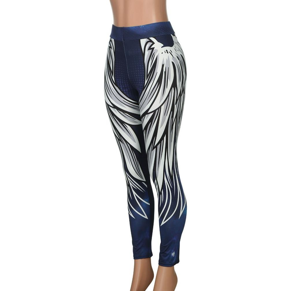 ef778876ce215 Amazon.com: Pocciol 2018 Newly Wing Printed Design Yoga Pants, Womens Yoga  Skinny Workout Leggings Fitness Sports Cropped Pants: Clothing