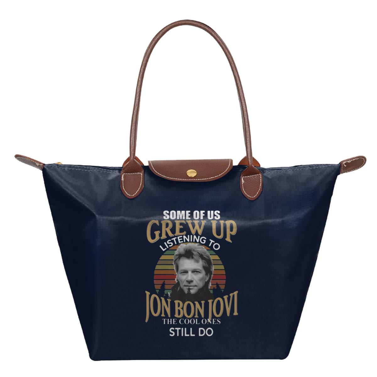 Some Of Us Grew Up Listening To Jon Bon Jovi The Cool Ones Still Do Waterproof Leather Folded Messenger Nylon Bag Travel Tote Hopping Folding School Handbags