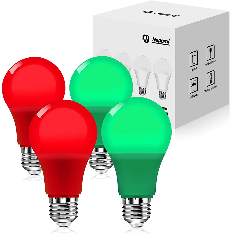 4 Pack Red Green Light Bulbs, 9W 60 Watt Equivalent Red Light Bulbs, A19 Green Light Bulbs, E26 Base Colored Light Bulbs, Red Green Led Lights for Christmas, Party, Porch, Home Lighting