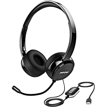 Mpow 071 USB Headset/ 3.5mm Computer Headset with Microphone Noise Cancelling, Lightweight PC Headset Wired Headphones, Business Headset for Skype, Webinar, ...