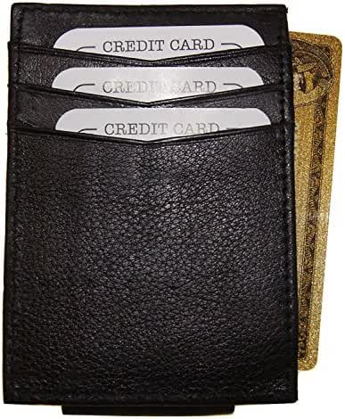 Improving Lifestyles Leather Black Magnetic Money Clip Credit Card Black FREE Organza Gift Bag SUN2792CFBK