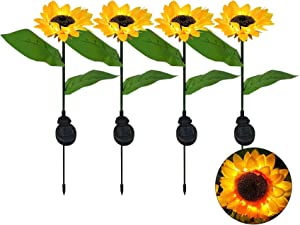Garden Decor Solar Sunflower Lights Outdoor 4 Pack by JHBOX, Solar Garden Lights Outdoor Decorative, Flower Garden Stake Backyard Decor Yard Decorations