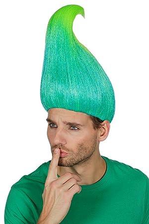 Wilbers Troll Peluca Verde Neon Pelo Largo Trenzado para Disfraz Carnaval Troll Peluca