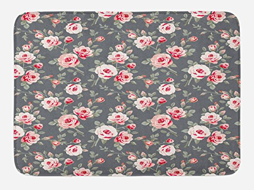 (Ambesonne Shabby Chic Bath Mat, Vintage Style Vibrant Roses Leaves Bush Buds Stems Rural Area Classical Pattern, Plush Bathroom Decor Mat with Non Slip Backing, 29.5 W X 17.5 L Inches, Multicolor)