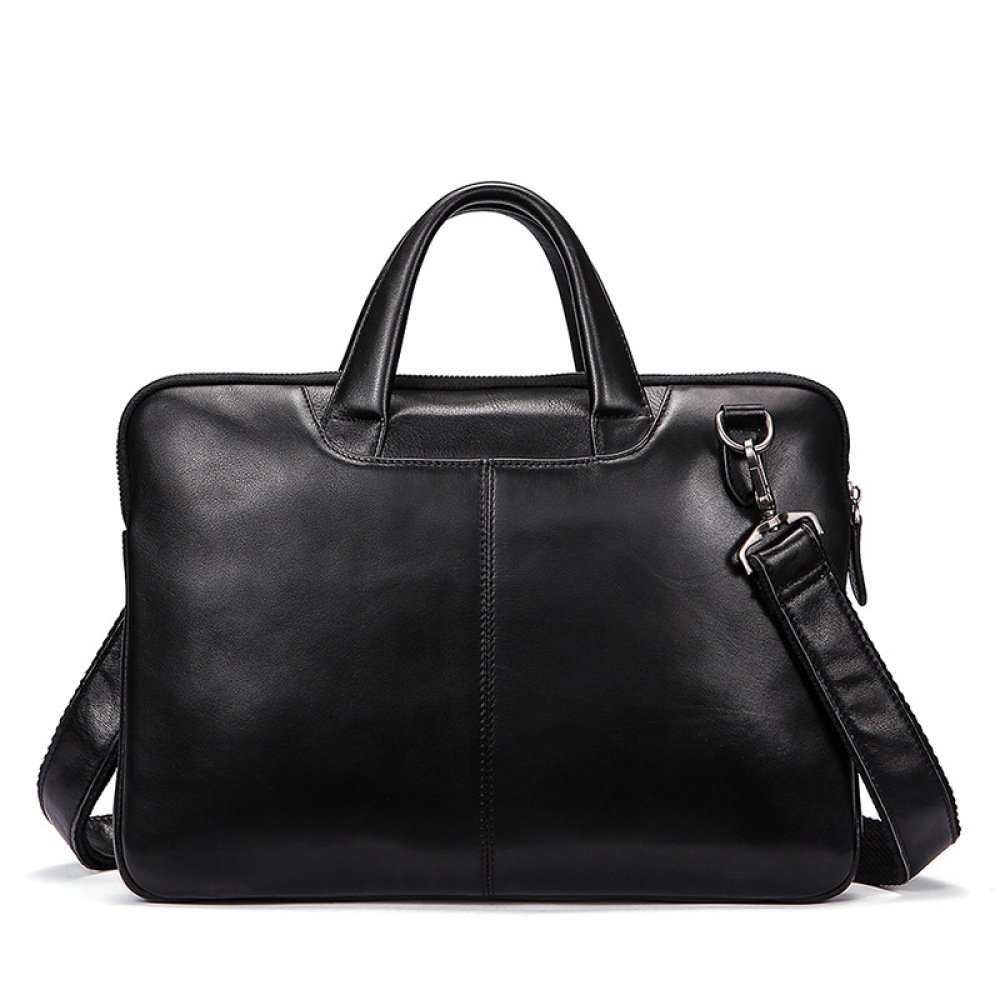 Leather Men's Business Tote Computer Bag Briefcase Cross Section,Black-S