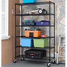 "48""x18""x78"" Black Commercial 6-Tier Standing Shelf Adjustable Steel Wire Metal Shelving for Storage, Kitchen, Office and Warehouse - with High Quality Wheels Casters"