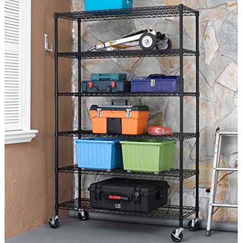 48x18x78 Black Commercial 6-Tier Standing Shelf Adjustable Steel Wire Metal Shelving for Storage, Kitchen, Office and Warehouse - with High Quality Wheels Casters