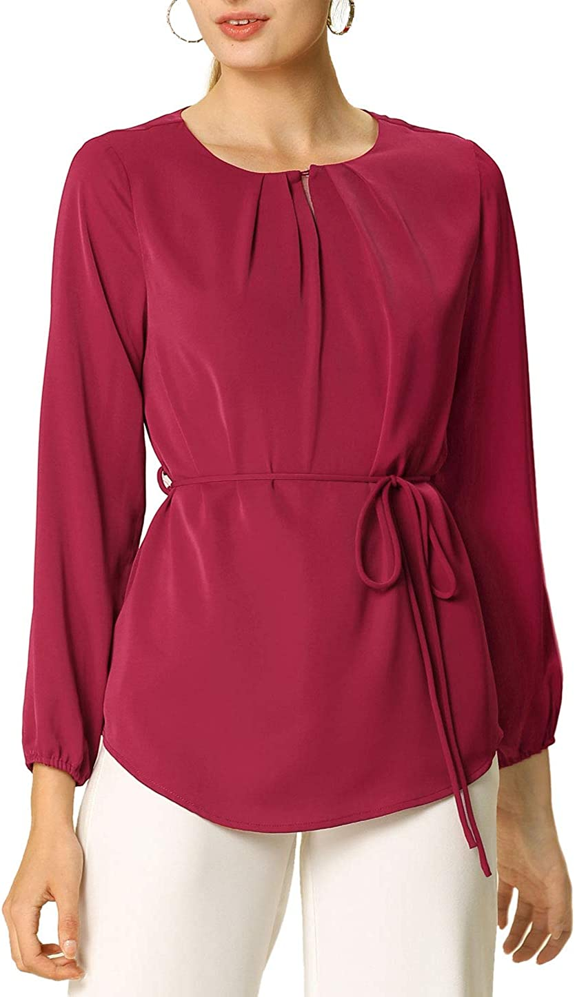 Allegra K Women's Long Sleeve Peplum Top Round Neck Solid Color Belted Waist Pleated Work Blouse