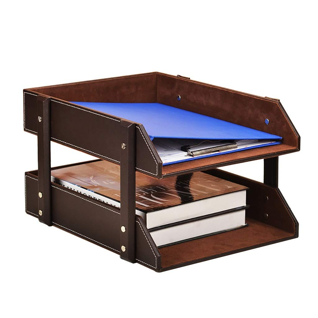 Bxwjg 2-Layers Letter Trays Stacking Supports, Leather Desk Organizer Mail Sorter File Paper Magazine Holder for Home Office Desktop Supplies 27.536.521cm