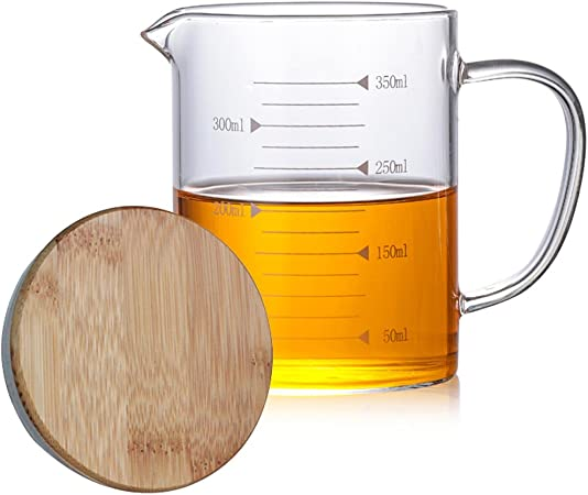 1000ML High Borosilicate Glass Coffee Heat resistant Measuring Cup with Measurements Line and Bamboo Cover for Home and Kitchen