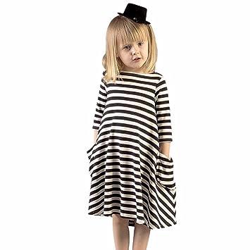 1b4a50a427a6a6 squarex Platz Mom und Me Schwarz weiß Gestreift Kleid Casual Familie Kleidung  Mädchen Kleid, Kinder