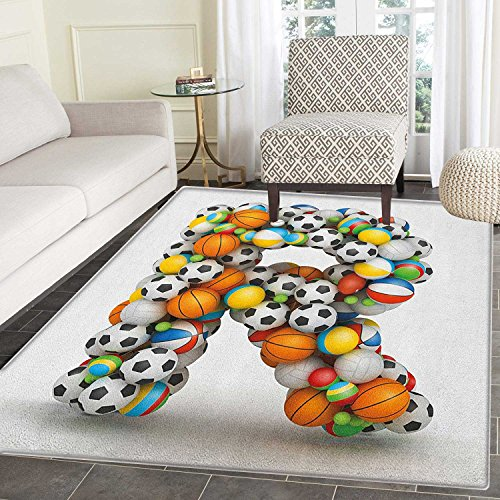 Small Soccer Ball Rug - Letter R Area Silky Smooth Rugs Realistic Looking Volleyball Basketball Soccer Balls Language of the Game Theme Floor Mat Pattern 2'x3' Multicolor