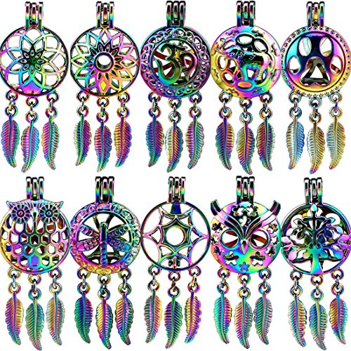 10X/lot Rainbow Dream Catcher Owl Leaves Animals Paw Elephant Insect Yoga Beads Cage Pendant Locket