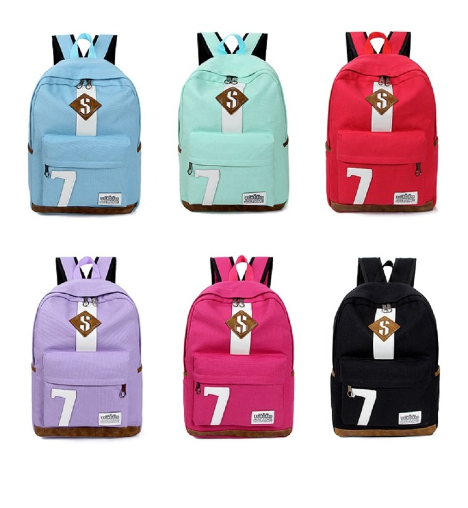 VIOY Backpack Cristiano No. 7 Couple Sports Backpack Simple Canvas Student Bag Ronaldo black One size