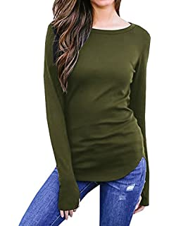 35039ad99e548a Sibylla Womens Casual Long Sleeve Thumb Hole Solid Tunic Tops Blouse T Shirt  Activewear(PLS