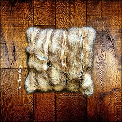 Pillow Cover - Sham - 16 Inch Square - Brown Ribbed Fox Faux Fur Two Sided - Sofa - Chair Toss (Fox Fur Rug)