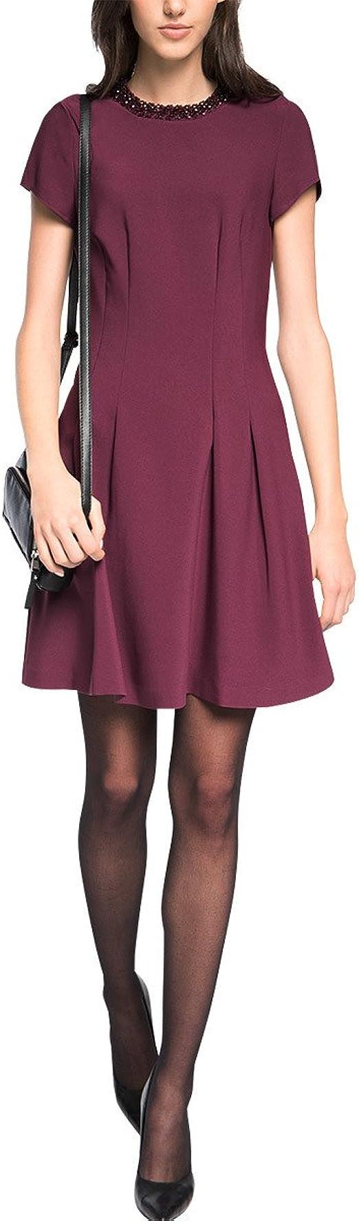 ESPRIT Collection Damen A-Linie Kleid aus Crepe, Knielang, Gr. 18