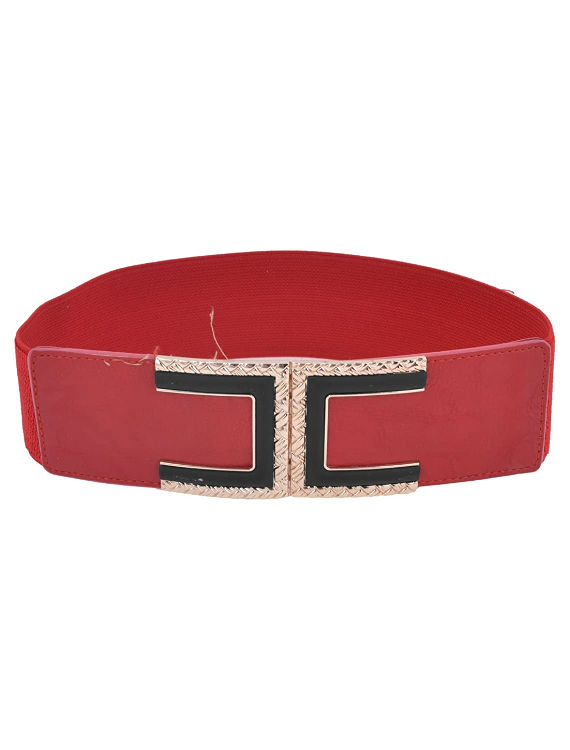 Braided Metal Decor Interlock Buckle 6cm Width Elastic Waist Belt