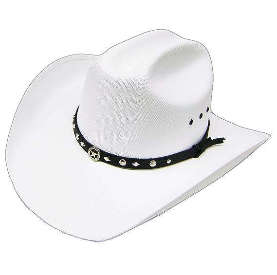 fdfc9d5a384 Modestone Unisex Traditional Straw Cowboy Hat Sheriff Star Hatband ...